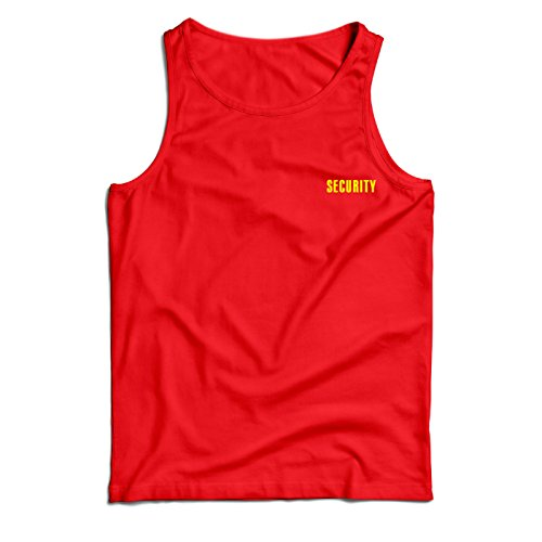 lepni.me Men's Tank Top Security, Bodyguard Crew Event Staff and Party (X-Large Red Yellow)