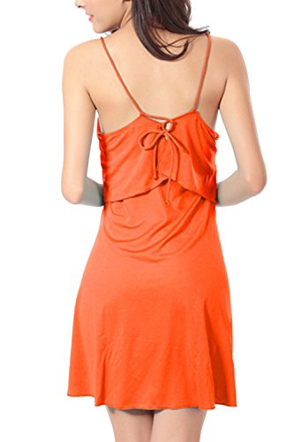 Cabestro Casual mujer falso 2 piezas columpio playa vestido Orange