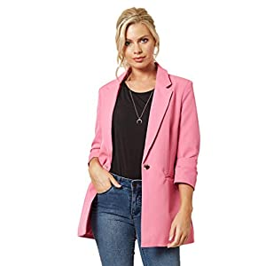 LINSIS Women's Blazer Long Sleeve Single Button Lightweight Notched Lapel Suit Ladies Office Jacket 29