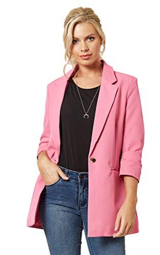 Linsis Women's Blazer Long Sleeve Single Button Lightweight Notched Lapel Suit Ladies Office Jacket Pink M