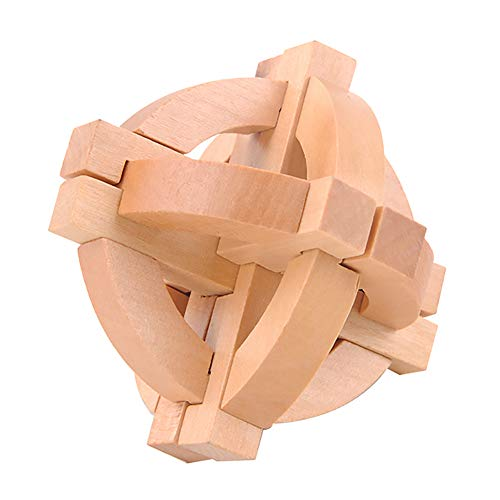 1 Set 3D Wooden KongMing Lock Set Brain Teaser Puzzles Classical Luban Jigsaw Cube Game for Kids and Adults (KongMing Ball) ()