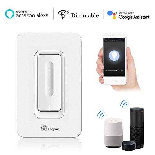 Smart Dimmer Switch - Teepao Upgraded Touch Dimmer Works with Alexa, Google Home Timing Switch Outlet Wifi Smart Lighting Control (Replace Single-Pole Only) for Bedroom, Living Room No Hub Require