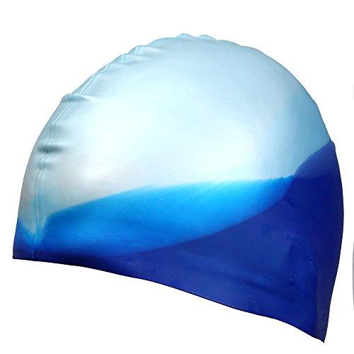 MAI BOSS Swimming Cap, Silicone Swim Cap, Senior Environmental Protection Silicone Materials, Swimming Protection Equipment (blue white color)
