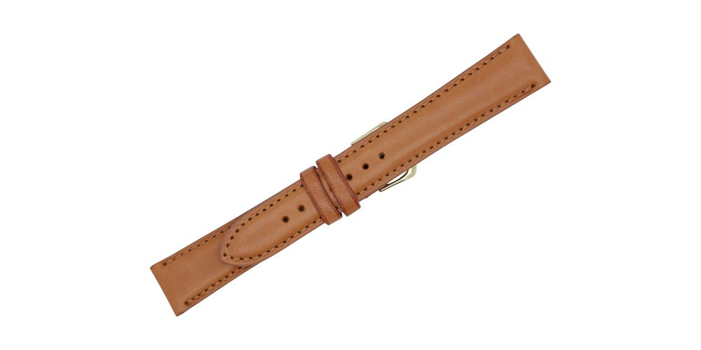 22mm London Tan - Padded Stitched - English Bridle Leather Watch Strap Band - Gold & Silver Buckles Included – Factory Direct - Made in USA by Real Leather Creations FBA100