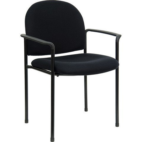 Flash Furniture Comfort Black Fabric Stackable Steel Side Reception Chair with Arms ()