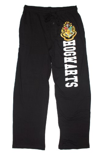 Hot Topic Harry Potter Hogwarts Guys Pajama Pants, Black, Large (Spelling Lounge)