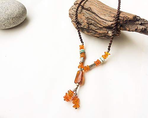 Amber macrame necklace, Mexican Amber necklace, Amber and turquoise necklace, Boho style, Yellow stone, Natural Amber, Amber jewelry, - Mexican Pendant Turquoise