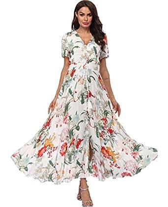 Summer Floral Boho Maxi Dress Women Button Up Split Flowy Long Swing Party Beach Dresses - - Medium