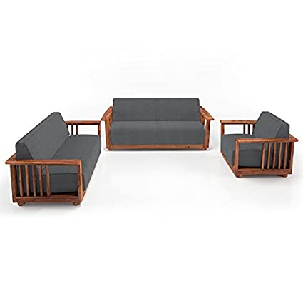 Urban Ladder Serra Wooden Sofa 3 2 1 Set Finish Teak Colour