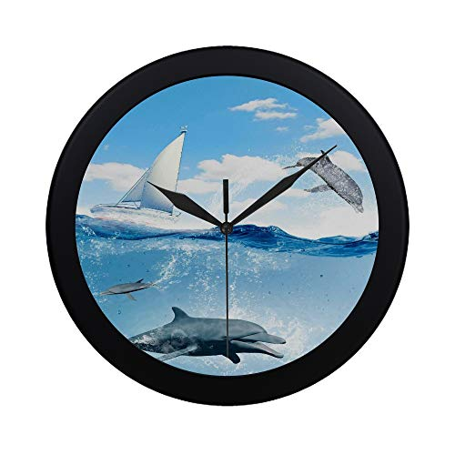 Modern Simple Floating Yacht And Dolphins Swimming Under Water Pattern Wall Clock Indoor Non-ticking Silent Quartz Quiet Sweep Movement Wall Clcok For Office,bathroom,livingroom Decorative 9.65 ()