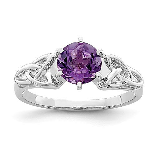 925 Sterling Silver Purple Amethyst Irish Claddagh Celtic Knot Trinity Band Ring Size 7.00 Gemstone Fine Jewelry Gifts For Women For Her