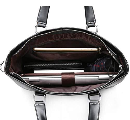 in moda a uomo Borsa tracolla per computer Borsa a pelle nera borsa tracolla morbida qBECXw