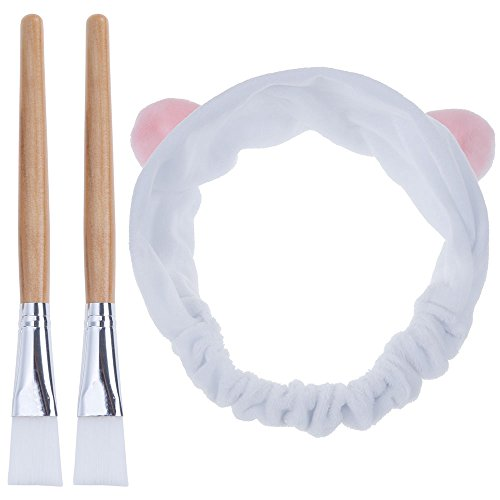 Brush Mask Application (Lictin Pack of 2 Facial Mask Brush with Super Cute Hair Band Professional Quality for Applying Facial Mask, Eye Mask or DIY Needs(Light Brown))