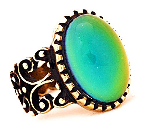 (Trendy Antique Gold Mood Ring in Gold Italian Design (7))