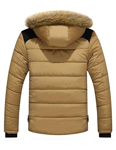 Uomo Collare Incappucciato Pile Jacket Puffer Menschwear Piumino Di 3xl Giacca Pelliccia Down Addensato Foderato S Beige q8axdwnvCw