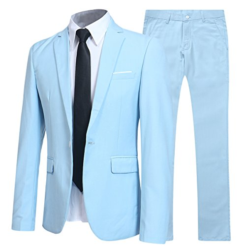 Slim Fit 2 Piece Suit For Men One Button Casual/Formal/Wedding Tuxedo,Light ()