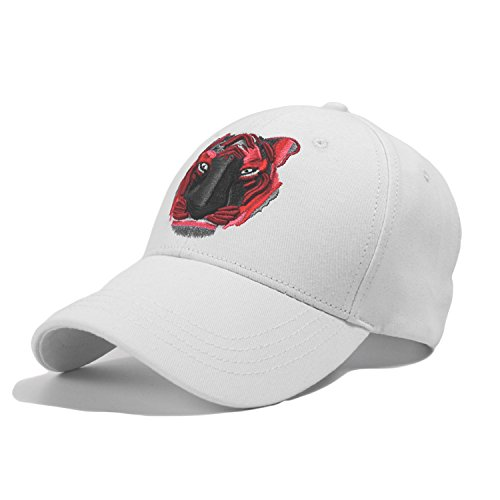 PT FASHIONS Adjustable Baseball Cap Unisex Young Cotton Embroidered Tiger Dad Hat-White