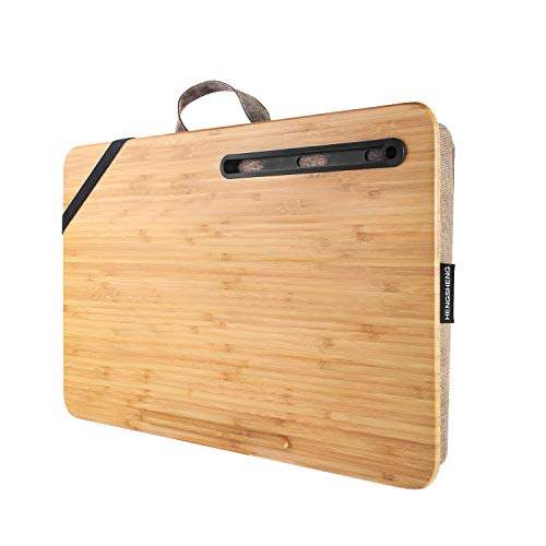 Home Office Lap Desk-wishacc Portable Bamboo Laptop Lap Desk Accessories (Fits up to 17.3