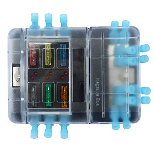 Cacys-Store - 6P Group fuse box +12P Negative bus line Bus Bar (Quick terminal) Vehicles with fuse + terminal 5A 10A 15A 20A 25A 30A ()