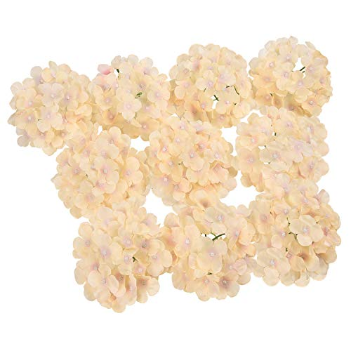 Hydrangea Small (Sunmboutique Artificial Hydrangea Flower Heads, 10 Pcs Silk Hydrangea Heads with Stems, Blooming Silk Hydrangea Flowers DIY Bouquet for Wedding Centerpieces Arrangements Party Home Decor)