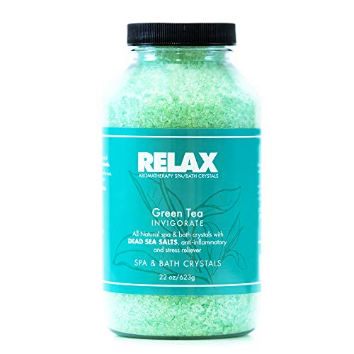 Green Tea Therapeutic Bath Crystals -22 Oz- Aromatherapy Natural Salts for Soaking Aches, Pains, Stress Relief for Jacuzzi (Tea Tub Whirlpool Green)