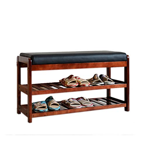 Shoe Box Shoe Rack Birch Multifunction Change Shoes Stoolmodern Simple Storage Stool (Color : Wine red)