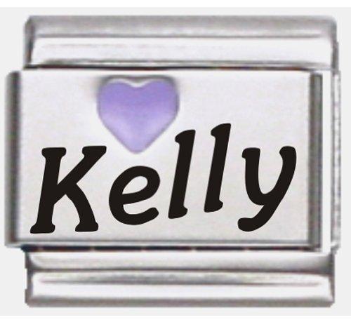 - Kelly Purple Heart Laser Name Italian Charm Link