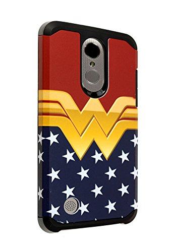 LG Aristo Wonder Woman Case LG Phoenix 3/Fortune/K8 2017/MS210/Risio 2/Rebel 2 LTE Case IMAGITOUCH 2-Piece Style Armor Case w/Flexible Shock Absorption Case Superhero Female Wonder Woman ()