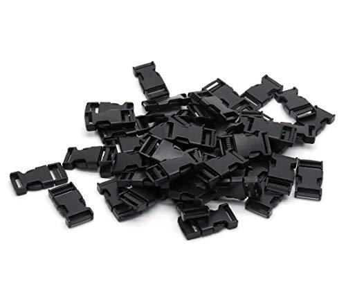 ZXHAO 50pcs Mini Quick Side Release Plastic Buckle Clips Fit Strap Width 1.5cm/0.59 inch Black