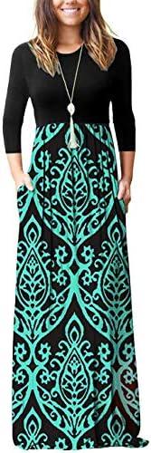 WNEEDU Womens Printed Dresses Pockets