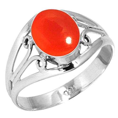 Natural Carnelian Women Jewelry 925 Sterling Silver Ring Size 8.5