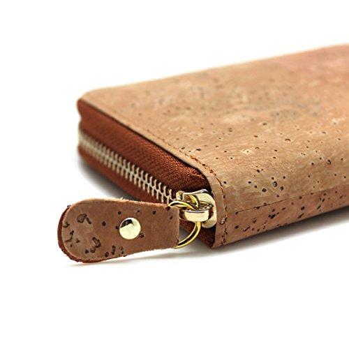 Portefeuille Eco Vegan liège Mode monnaie de autour Fermeture support Éclair Friendly portefeuille Cadeau en Peau avec de pièce avec boshiho Poche Motif wtpqfTf
