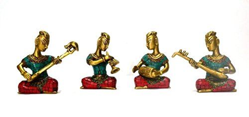 Idol Collections Brass Turquoise Coral Lapis Musicians Statue Antique-Look Figurine - Unique Handmade Brass .Home Decorative