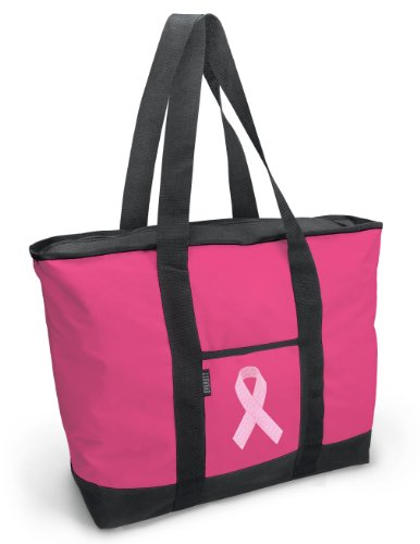 [Cute Pink Ribbon Tote Bag Pink Ribbon Totes for Women] (Ribbon Tote)