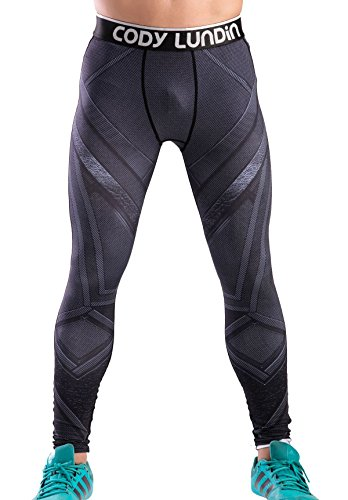 (Red Plume Men's Compression Elastic Tight Leggings Sport Panther Leopard Printing Pants (L,)