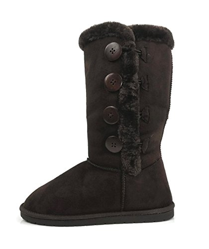Womens Trish Soft Fur Lined Warm Winter Boot Mid Calf Faux Suede Girls, New Brown Tall, - Boots Fur Faux Winter