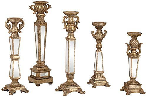 Dahlia Studios Carley Traditional Mirrored Pillar Candle Holders Set of 5