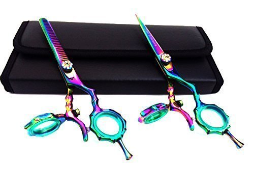 star scissors Thumb Swivel Professional Hairdressing Thinning Hair Cutting Scissors Shears Set Japanese Steel Plus Free Case, 5.5