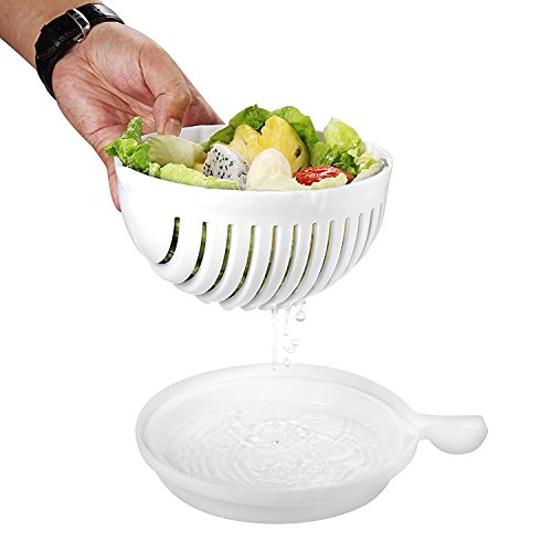 UniqueZone Plastic Multipurpose Strainer and Salad Cutter Chopper Bowl