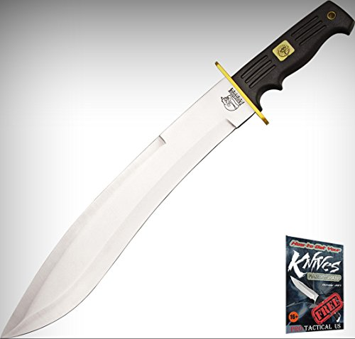 "FPG533B Frost Bushmaster Elite Machete 18 3/4"" Over 14"" SS Blade Grooved Black C + free eBook by ProTactical'US"