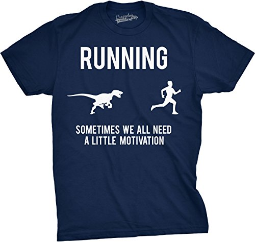 Mens Running Motivation T shirt Funny Running T shirts Sarcasm Humor Run Novelty Tees (Navy) -XL