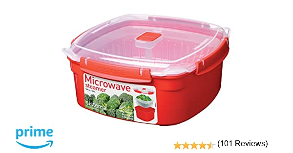 Sistema Vaporera grande de microondas de plástico rojo, 23.9 x 23.9 x 10.9 cm