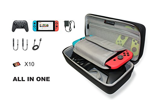 Price comparison product image Nintendo Switch Hard Shell Travel Case - Come With Adjustable Shoulder Strap - Fits AC Charger and Pro-Controller. With Built-in Game card Storage (Black)