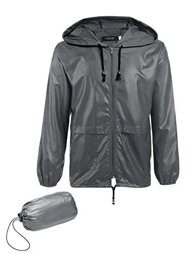 COOFANDY Men's Packable Rain Jacket Outdoor Waterproof Hooded Lightweight Classic Cycling Raincoat Poncho Gray