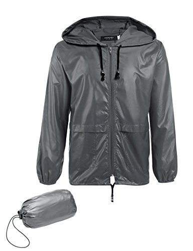 Jinidu Unisex Lightweight Hooded Running Cycling Rain Jacket Outdoor Raincoat (Medium, Grey3) by Jinidu