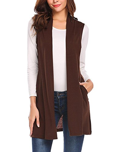 Lunir Ladies Plus Size Long Duster Open Front Sweater Vest Sleeveless Cardigan