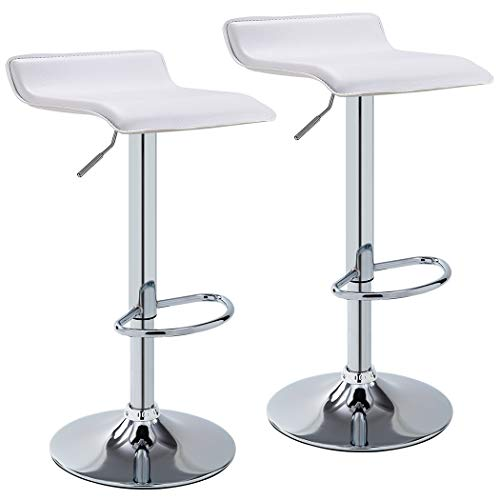 tyle Bar Stool WY-118 Curved Adjustable with PVC Leather Seat Set of 2 Bar Chair (White) ()