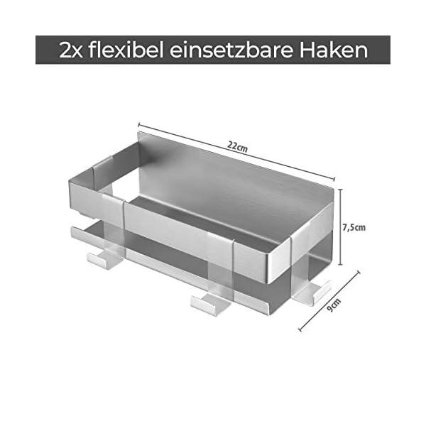 41G96wW%2BbuL LIEBHEIM Duschablage Duschkorb Badregal rostfreier Edelstahl gebürstet ohne Bohren mit zwei Klebevarianten garantiert…