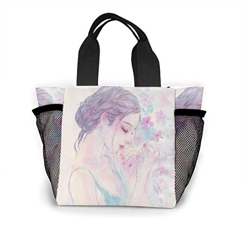 Fjb11 Lunch Handbag with Water Bottle Holder for Girls, Beautiful Dance Girl Printed Multipurpose Snack, Picnic Tote Bag