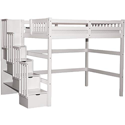 SCANICA Stairway Full Loft Bed with Storage White